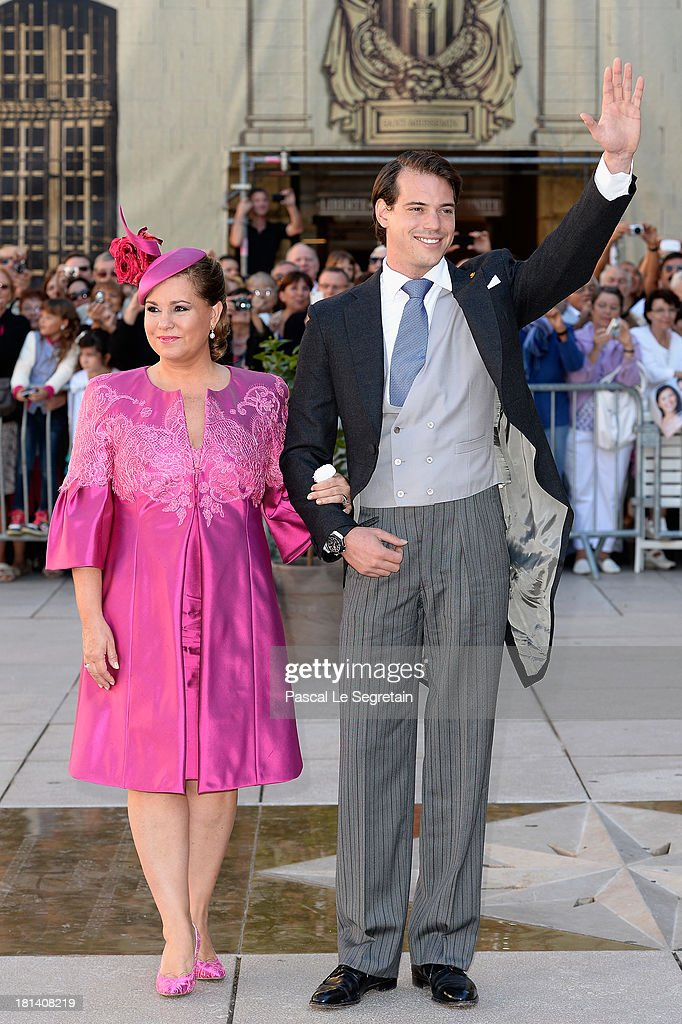 Prince Felix Of Luxembourg and Grand Duchess Maria Teresa attend the Religious Wedding Of Prince Felix Of Luxembourg & Claire Lademacher at the Basilique Sainte Marie-Madeleine on September 21, 2013 in Saint-Maximin-La-Sainte-Baume, France.