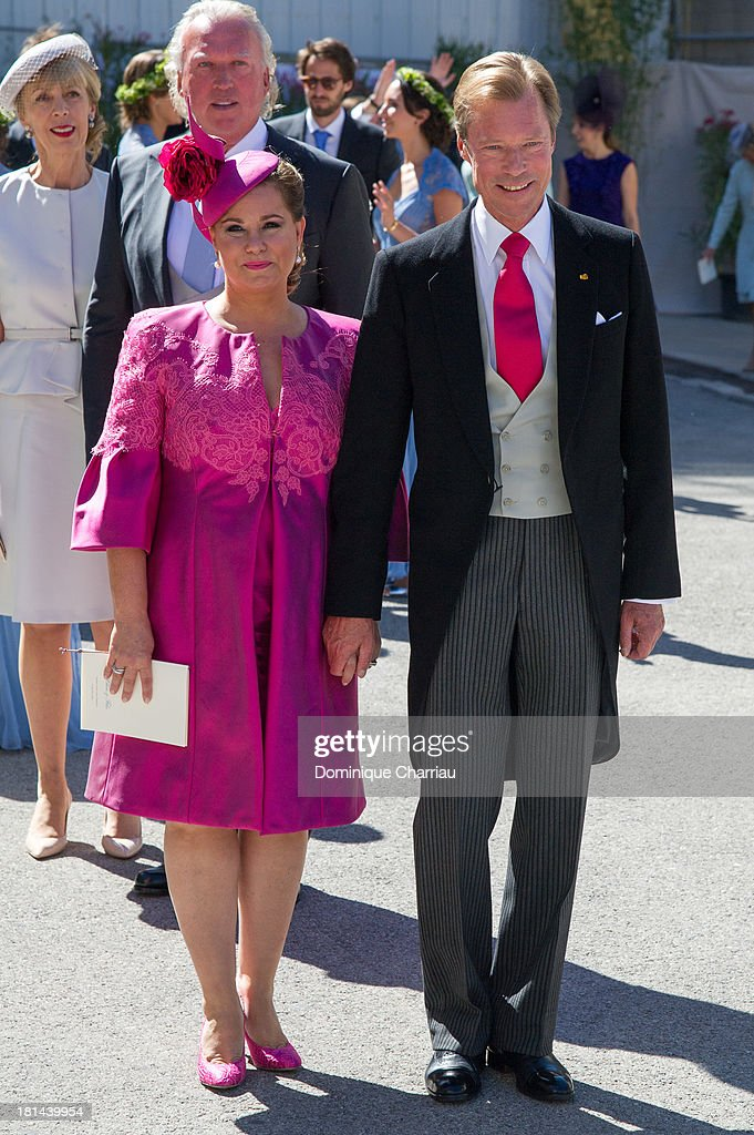 Prince Felix Of Luxembourg and <a gi-track='captionPersonalityLinkClicked' href=/galleries/search?phrase=Grand+Duchess+Maria+Teresa&family=editorial&specificpeople=159000 ng-click='$event.stopPropagation()'>Grand Duchess Maria Teresa</a> attend the Religious Wedding Of Prince Felix Of Luxembourg & Claire Lademacher at Basilique Sainte Marie-Madeleine on September 21, 2013 in Saint-Maximin-La-Sainte-Baume, France.