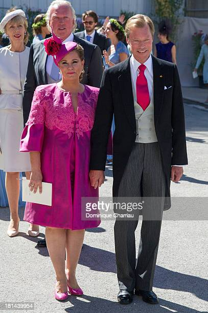 Prince Felix Of Luxembourg and Grand Duchess Maria Teresa attend the Religious Wedding Of Prince Felix Of Luxembourg Claire Lademacher at Basilique...
