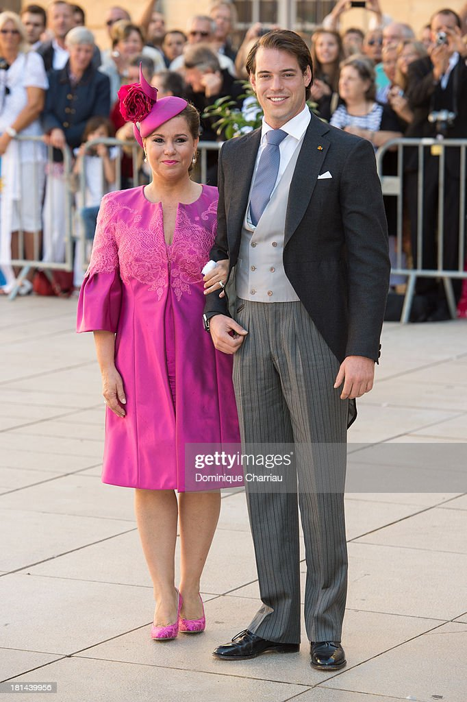 Prince Felix Of Luxembourg and Grand Duchess Maria Teresa attend the Religious Wedding Of Prince Felix Of Luxembourg & Claire Lademacher at Basilique Sainte Marie-Madeleine on September 21, 2013 in Saint-Maximin-La-Sainte-Baume, France.