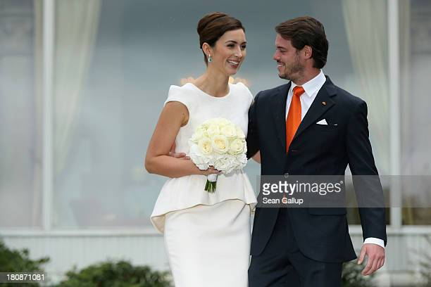 Prince Felix Of Luxembourg and Princess Claire of Luxembourg celebrate in front of photograhers after taking their vows at their Civil Wedding...