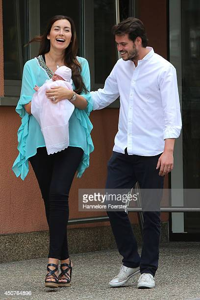 Prince Felix of Luxembourg and Princess Claire of Luxembourg leave with their daughter Princess Amalia Gabriela Maria Teresa the Maternity...