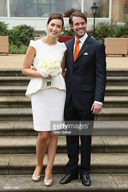 Prince Felix Of Luxembourg and Princess Claire of Luxembourg pose in front of photograhers after taking their vows at their Civil Wedding Ceremony at...