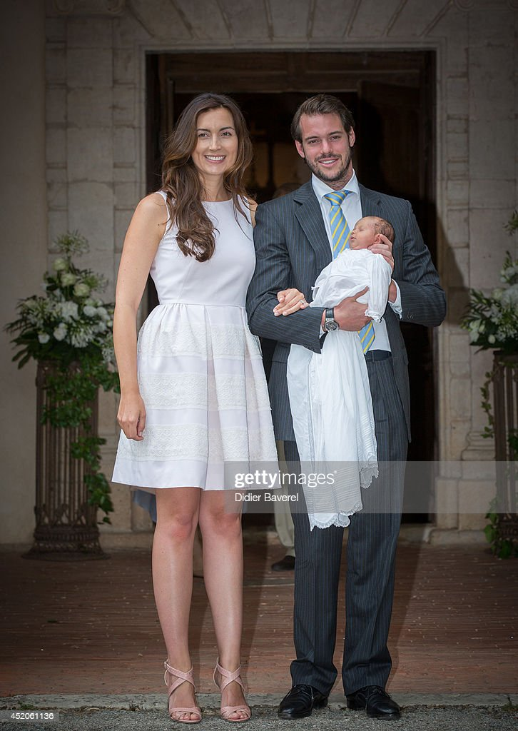Prince Felix of Luxembourg and Princess Claire of Luxembourg pose with their daughter Princess Amalia of Luxembourg after her Christening ceremony, at the Saint Ferreol Chapel in Lorgues on July 12, 2014 in Lorgues, France.