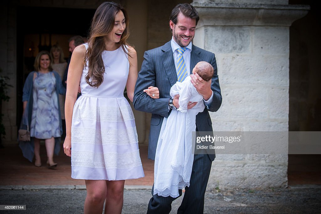 <a gi-track='captionPersonalityLinkClicked' href=/galleries/search?phrase=Prince+Felix+of+Luxembourg&family=editorial&specificpeople=6881094 ng-click='$event.stopPropagation()'>Prince Felix of Luxembourg</a> and <a gi-track='captionPersonalityLinkClicked' href=/galleries/search?phrase=Princess+Claire+of+Luxembourg&family=editorial&specificpeople=9040476 ng-click='$event.stopPropagation()'>Princess Claire of Luxembourg</a> pose with their daughter <a gi-track='captionPersonalityLinkClicked' href=/galleries/search?phrase=Princess+Amalia+of+Luxembourg&family=editorial&specificpeople=12900312 ng-click='$event.stopPropagation()'>Princess Amalia of Luxembourg</a> after her Christening ceremony, at the Saint Ferreol Chapel in Lorgues on July 12, 2014 in Lorgues, France.