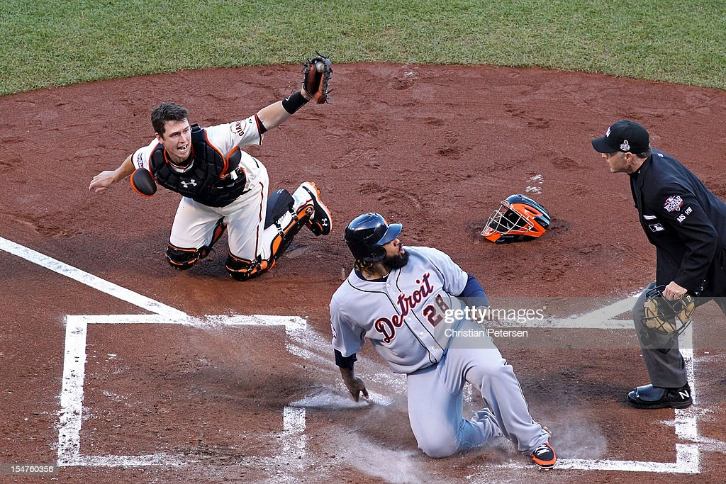 <a gi-track='captionPersonalityLinkClicked' href=/galleries/search?phrase=Prince+Fielder&family=editorial&specificpeople=209392 ng-click='$event.stopPropagation()'>Prince Fielder</a> (C) #28 of the Detroit Tigers reacts after he was called out by home plate umpire Dan Iassogna on a tag out by catcher <a gi-track='captionPersonalityLinkClicked' href=/galleries/search?phrase=Buster+Posey&family=editorial&specificpeople=4896435 ng-click='$event.stopPropagation()'>Buster Posey</a> #28 of the San Francisco Giants during the second inning of Game Two of the Major League Baseball World Series at AT&T Park on October 25, 2012 in San Francisco, California.