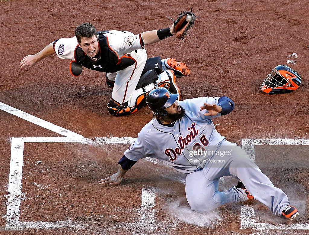 <a gi-track='captionPersonalityLinkClicked' href=/galleries/search?phrase=Prince+Fielder&family=editorial&specificpeople=209392 ng-click='$event.stopPropagation()'>Prince Fielder</a> (C) #28 of the Detroit Tigers reacts after he was tagged out at home plate by catcher <a gi-track='captionPersonalityLinkClicked' href=/galleries/search?phrase=Buster+Posey&family=editorial&specificpeople=4896435 ng-click='$event.stopPropagation()'>Buster Posey</a> #28 of the San Francisco Giants during the second inning of Game Two of the Major League Baseball World Series at AT&T Park on October 25, 2012 in San Francisco, California.