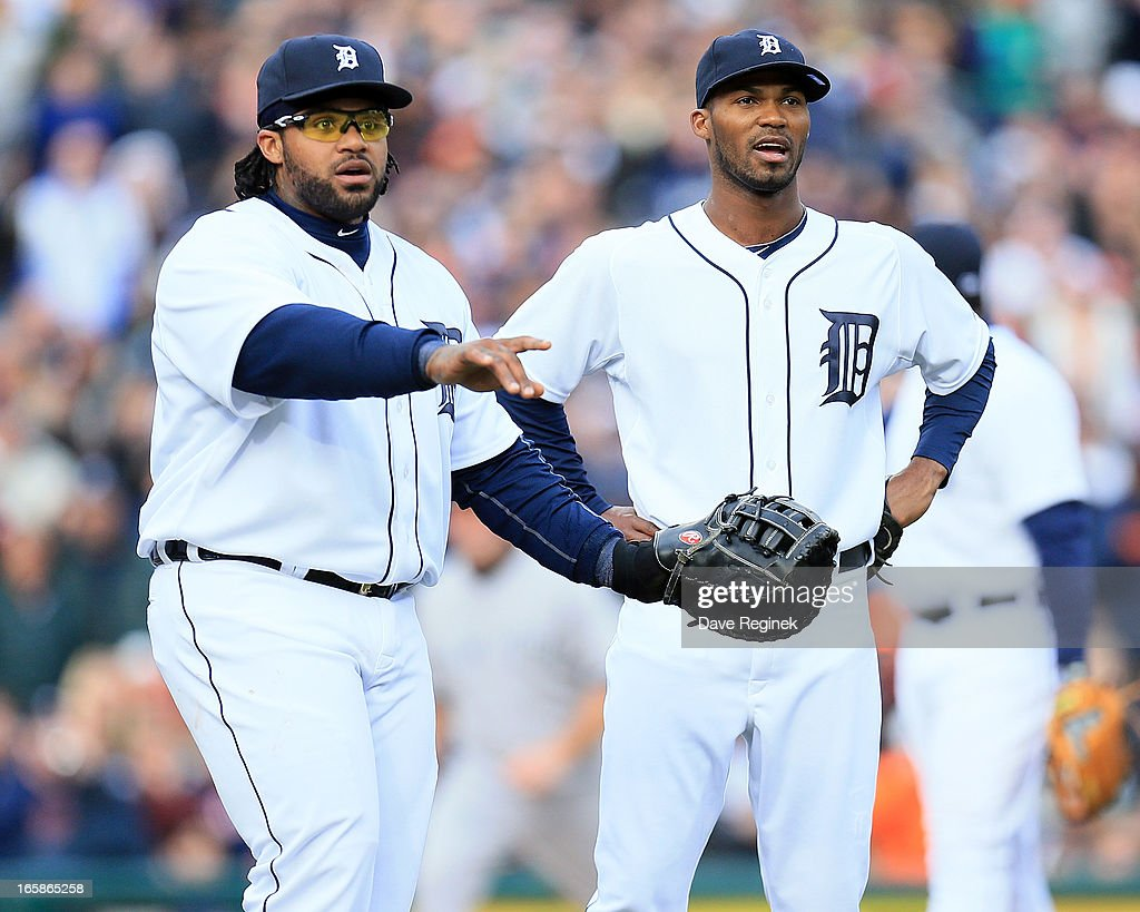 Prince Fielder #28 and Al Alburquerque #62 of the Detroit Tigers look to the first base umpire for a call against the New York Yankees at Comerica Park on April 6, 2013 in Detroit, Michigan.