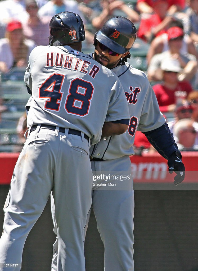 <a gi-track='captionPersonalityLinkClicked' href=/galleries/search?phrase=Prince+Fielder&family=editorial&specificpeople=209392 ng-click='$event.stopPropagation()'>Prince Fielder</a> #28 and <a gi-track='captionPersonalityLinkClicked' href=/galleries/search?phrase=Torii+Hunter&family=editorial&specificpeople=183408 ng-click='$event.stopPropagation()'>Torii Hunter</a> #48 of the Detroit Tigers celebrate after both score on Fielder's two run home run in the fifth inning against the Los Angeles Angels of Anaheim at Angel Stadium of Anaheim on April 21, 2013 in Anaheim, California.