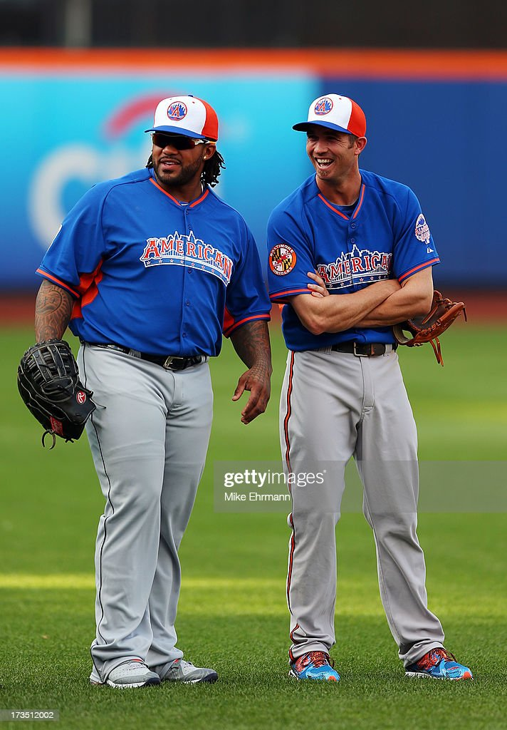 <a gi-track='captionPersonalityLinkClicked' href=/galleries/search?phrase=Prince+Fielder&family=editorial&specificpeople=209392 ng-click='$event.stopPropagation()'>Prince Fielder</a> #28 of the Detroit Tigers and <a gi-track='captionPersonalityLinkClicked' href=/galleries/search?phrase=J.J.+Hardy&family=editorial&specificpeople=216446 ng-click='$event.stopPropagation()'>J.J. Hardy</a> #2 of the Baltimore Orioles during Gatorade All-Star Workout Day on July 15, 2013 at Citi Field in the Flushing neighborhood of the Queens borough of New York City.