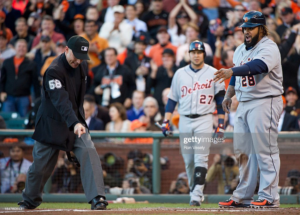 Prince Fielder #28 of the Detroit Tigers argues a call with home plate umpire Dan Iassogna #58 in the top of the second inning of Game 2 of the 2012 World Series against the San Francisco Giants on Thursday, October 25, 2012 at AT&T Park in San Francisco, California.