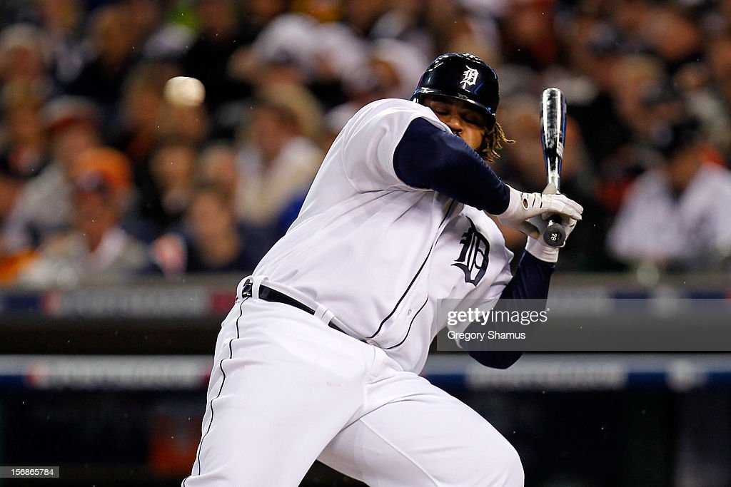 <a gi-track='captionPersonalityLinkClicked' href=/galleries/search?phrase=Prince+Fielder&family=editorial&specificpeople=209392 ng-click='$event.stopPropagation()'>Prince Fielder</a> #28 of the Detroit Tigers avoids an inside pitch against the New York Yankees during game three of the American League Championship Series at Comerica Park on October 16, 2012 in Detroit, Michigan.