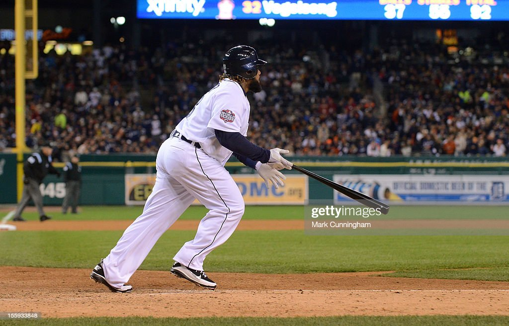 Prince Fielder #28 of the Detroit Tigers bats during Game Three of the World Series against the San Francisco Giants at Comerica Park on October 27, 2012 in Detroit, Michigan. The Giants defeated the Tigers 2-0.