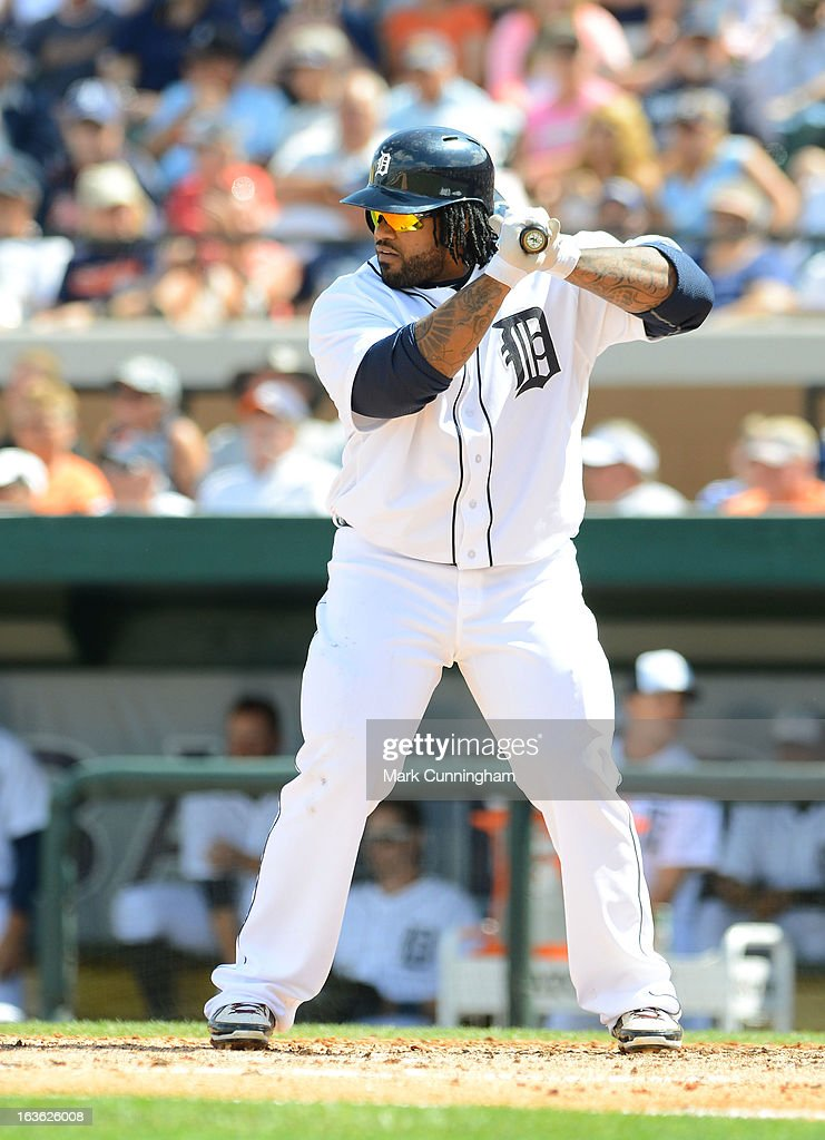Prince Fielder #28 of the Detroit Tigers bats during the spring training game against the Washington Nationals at Joker Marchant Stadium on March 10, 2013 in Lakeland, Florida. The Tigers defeated the Nationals 2-1.