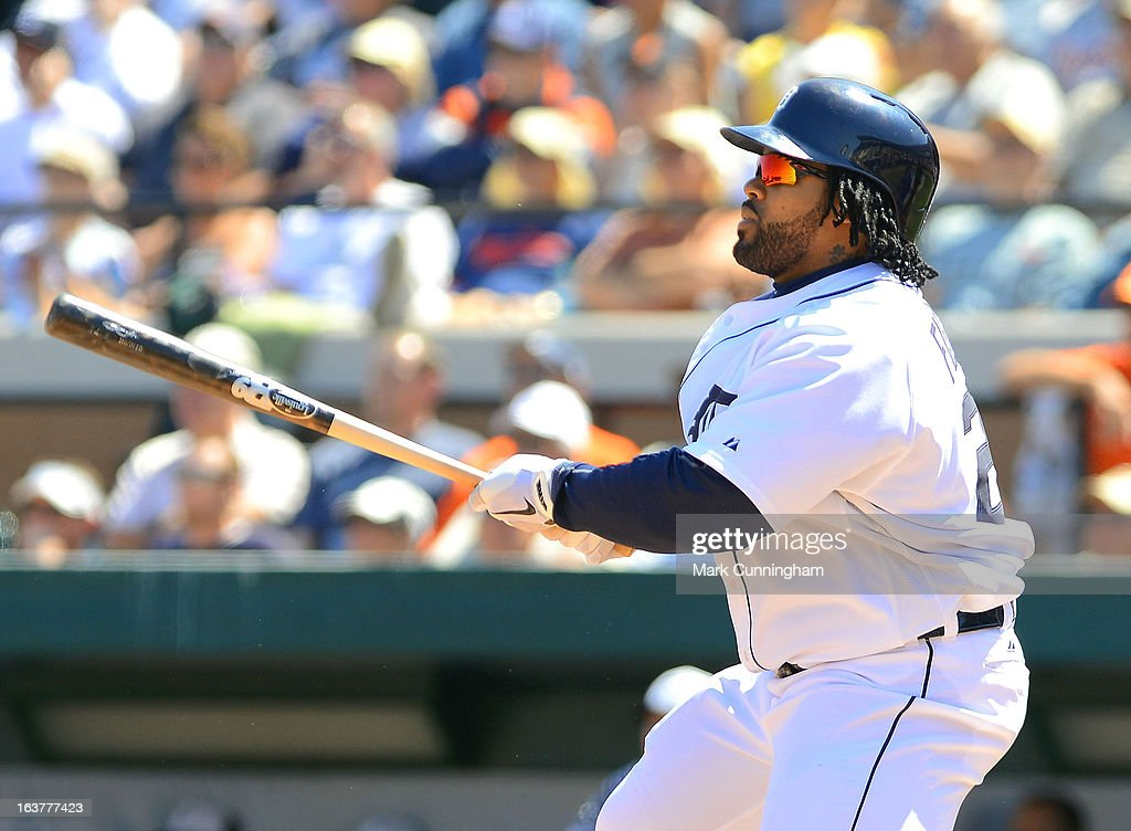 Prince Fielder #28 of the Detroit Tigers bats during the spring training game against the Toronto Blue Jays at Joker Marchant Stadium on March 15, 2013 in Lakeland, Florida. The Tigers defeated the Blue Jays 4-2.