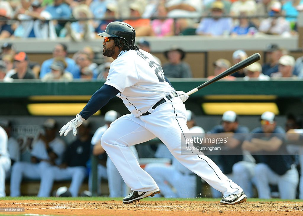 <a gi-track='captionPersonalityLinkClicked' href=/galleries/search?phrase=Prince+Fielder&family=editorial&specificpeople=209392 ng-click='$event.stopPropagation()'>Prince Fielder</a> #28 of the Detroit Tigers bats during the spring training game against the Tampa Bay Rays at Joker Marchant Stadium on March 19, 2013 in Lakeland, Florida. The Rays defeated the Tigers 11-5.