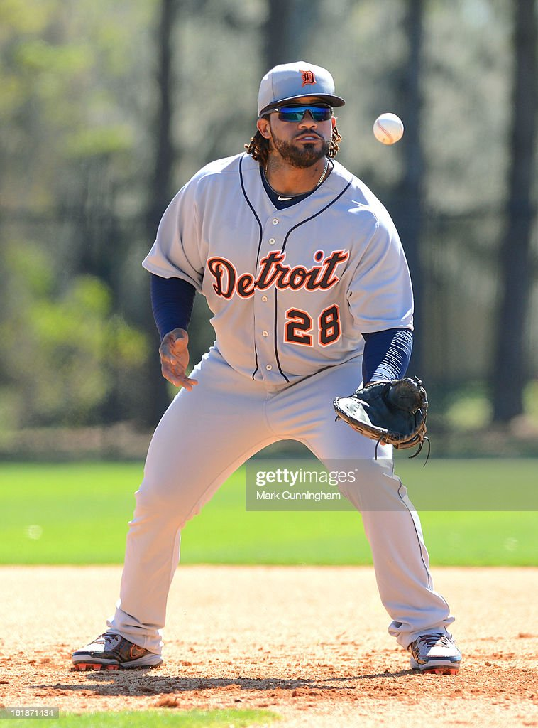 Prince Fielder #28 of the Detroit Tigers catches a baseball during Spring Training workouts at the TigerTown Facility on February 17, 2013 in Lakeland, Florida.