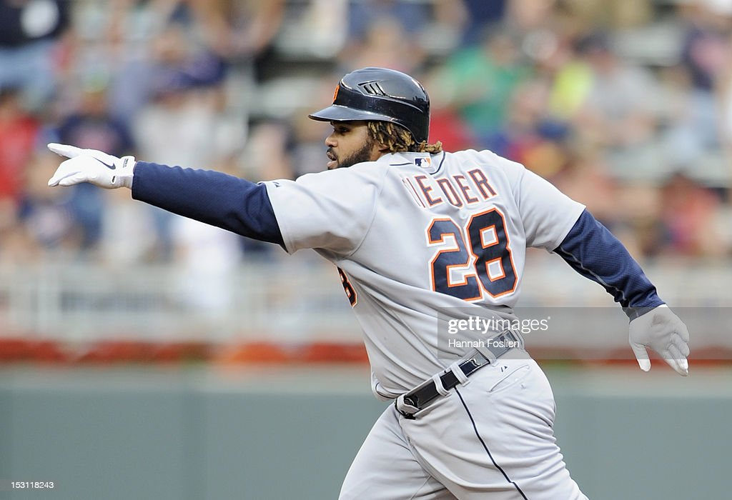 <a gi-track='captionPersonalityLinkClicked' href=/galleries/search?phrase=Prince+Fielder&family=editorial&specificpeople=209392 ng-click='$event.stopPropagation()'>Prince Fielder</a> #28 of the Detroit Tigers celebrates as he rounds the bases after hitting a two run home run against the Minnesota Twins during the eighth inning of the game on September 30, 2012 at Target Field in Minneapolis, Minnesota. The Tigers defeated the Twins 2-1.