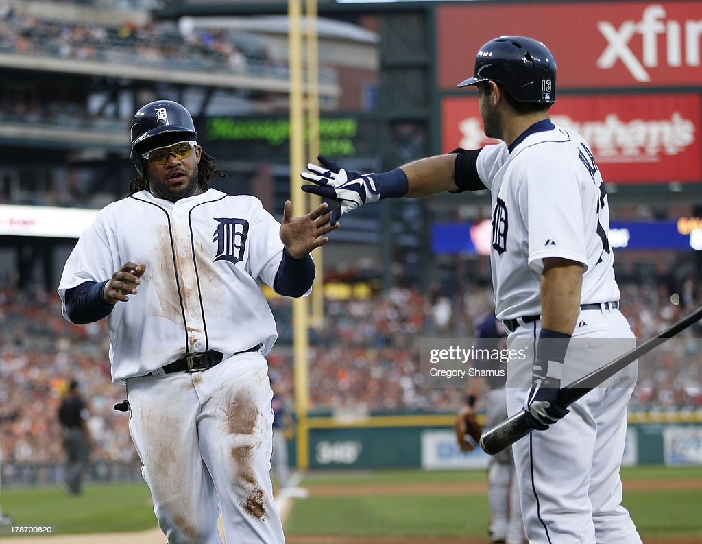 <a gi-track='captionPersonalityLinkClicked' href=/galleries/search?phrase=Prince+Fielder&family=editorial&specificpeople=209392 ng-click='$event.stopPropagation()'>Prince Fielder</a> #28 of the Detroit Tigers celebrates with <a gi-track='captionPersonalityLinkClicked' href=/galleries/search?phrase=Alex+Avila&family=editorial&specificpeople=5749211 ng-click='$event.stopPropagation()'>Alex Avila</a> #13 after scoring a second inning run while playing the Cleveland Indians on August 30, 2013 at Comerca Park in Detroit, Michigan.