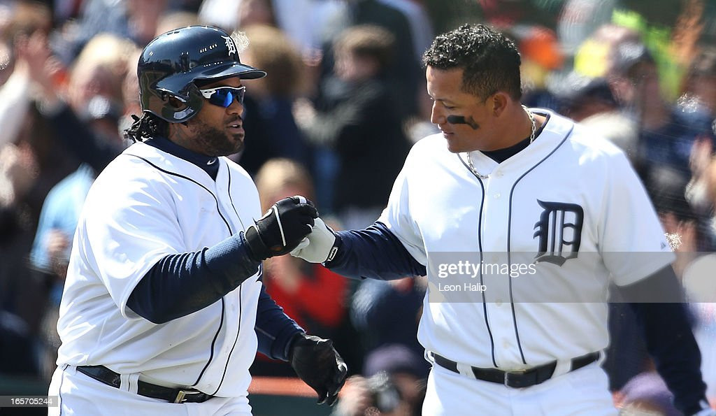 Prince Fielder #28 of the Detroit Tigers celebrates with teammate Miguel Cabrera #24 after hitting a three run home run in the fifth inning during the game against the New York Yankees at Comerica Park on April 5, 2013 in Detroit, Michigan.
