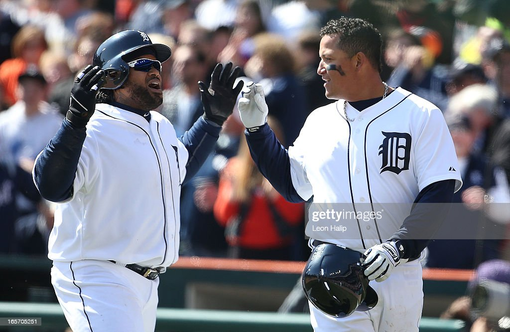 <a gi-track='captionPersonalityLinkClicked' href=/galleries/search?phrase=Prince+Fielder&family=editorial&specificpeople=209392 ng-click='$event.stopPropagation()'>Prince Fielder</a> #28 of the Detroit Tigers celebrates with teammate <a gi-track='captionPersonalityLinkClicked' href=/galleries/search?phrase=Miguel+Cabrera&family=editorial&specificpeople=202141 ng-click='$event.stopPropagation()'>Miguel Cabrera</a> #24 after hitting a three run home run in the fifth inning during the game against the New York Yankees at Comerica Park on April 5, 2013 in Detroit, Michigan.