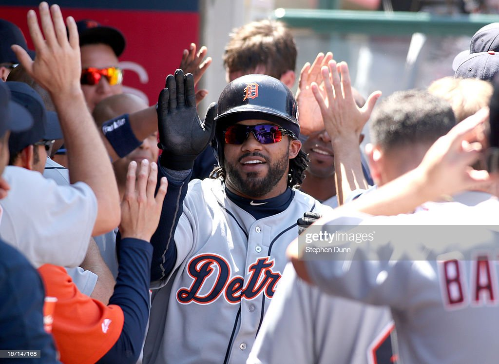 <a gi-track='captionPersonalityLinkClicked' href=/galleries/search?phrase=Prince+Fielder&family=editorial&specificpeople=209392 ng-click='$event.stopPropagation()'>Prince Fielder</a> #28 of the Detroit Tigers celebrates with teammates in the dugout after hitting a two run home run in the fifth inning against the Los Angeles Angels of Anaheim at Angel Stadium of Anaheim on April 21, 2013 in Anaheim, California.