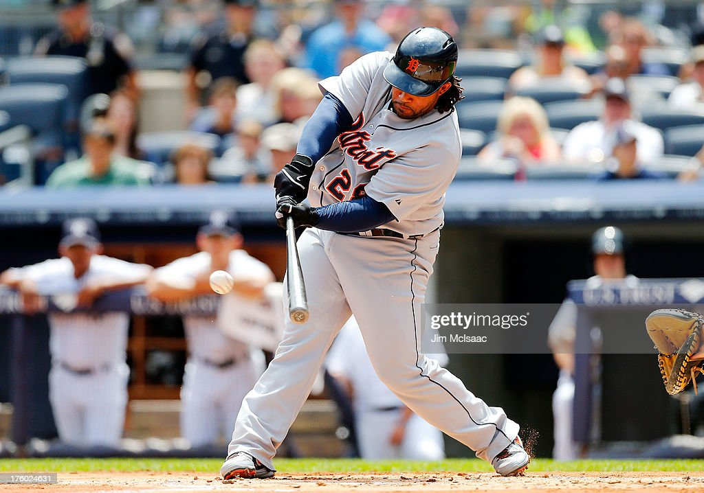 Prince Fielder #28 of the Detroit Tigers connects on a first inning RBI base hit against the New York Yankees at Yankee Stadium on August 11, 2013 in the Bronx borough of New York City.