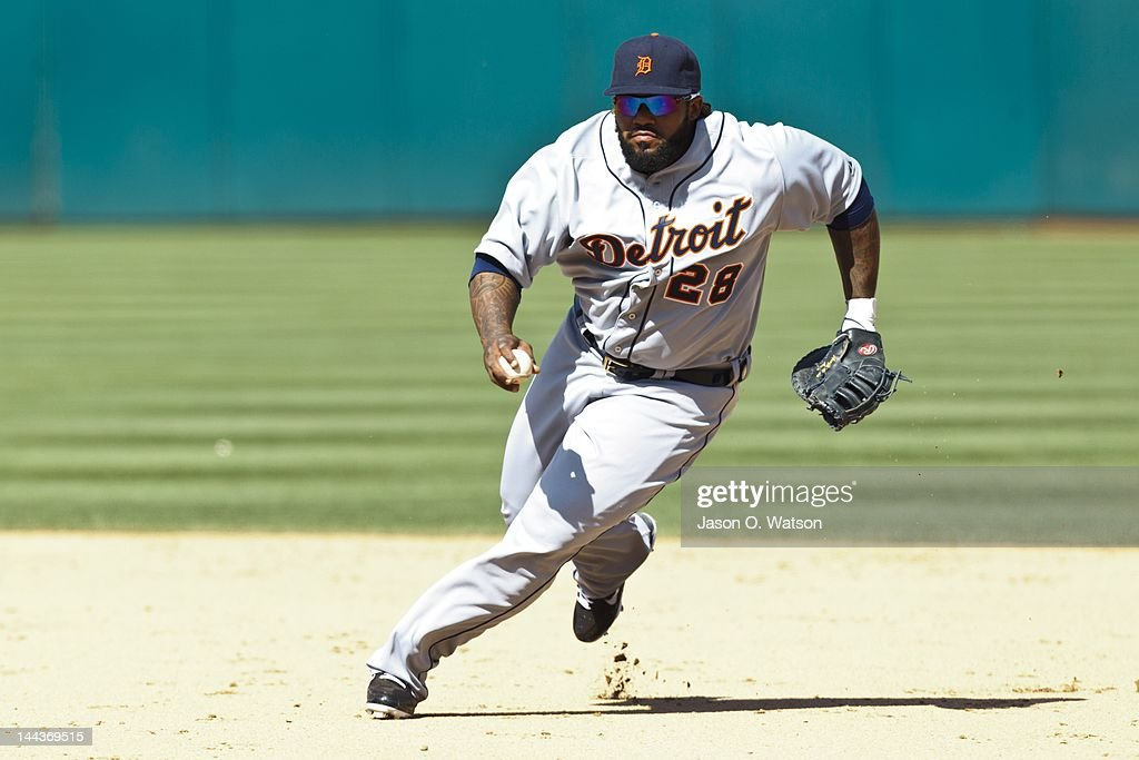 <a gi-track='captionPersonalityLinkClicked' href=/galleries/search?phrase=Prince+Fielder&family=editorial&specificpeople=209392 ng-click='$event.stopPropagation()'>Prince Fielder</a> #28 of the Detroit Tigers fields a ground ball against the Oakland Athletics during the ninth inning at O.co Coliseum on May 13, 2012 in Oakland, California. The Detroit Tigers defeated the Oakland Athletics 3-1.