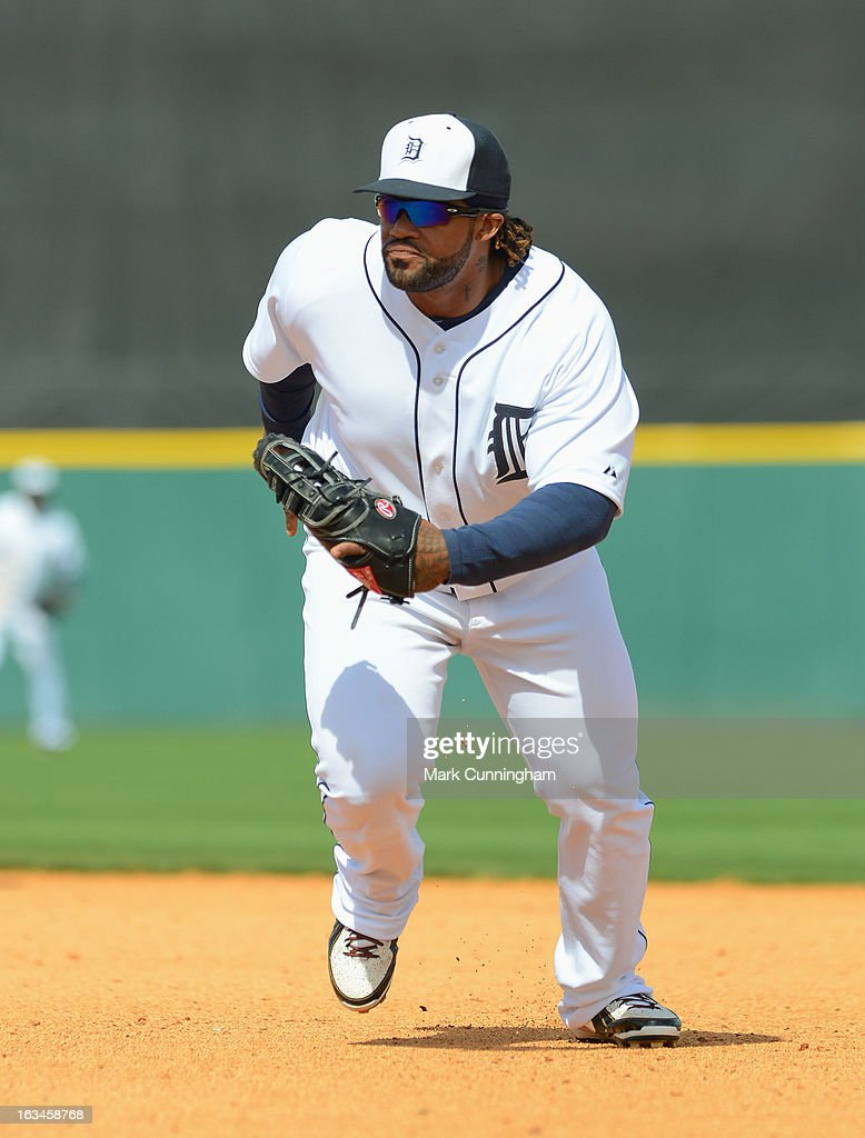 Prince Fielder #28 of the Detroit Tigers fields during the spring training game against the Pittsburgh Pirates at Joker Marchant Stadium on March 2, 2013 in Lakeland, Florida. The Tigers defeated the Pirates 4-1.