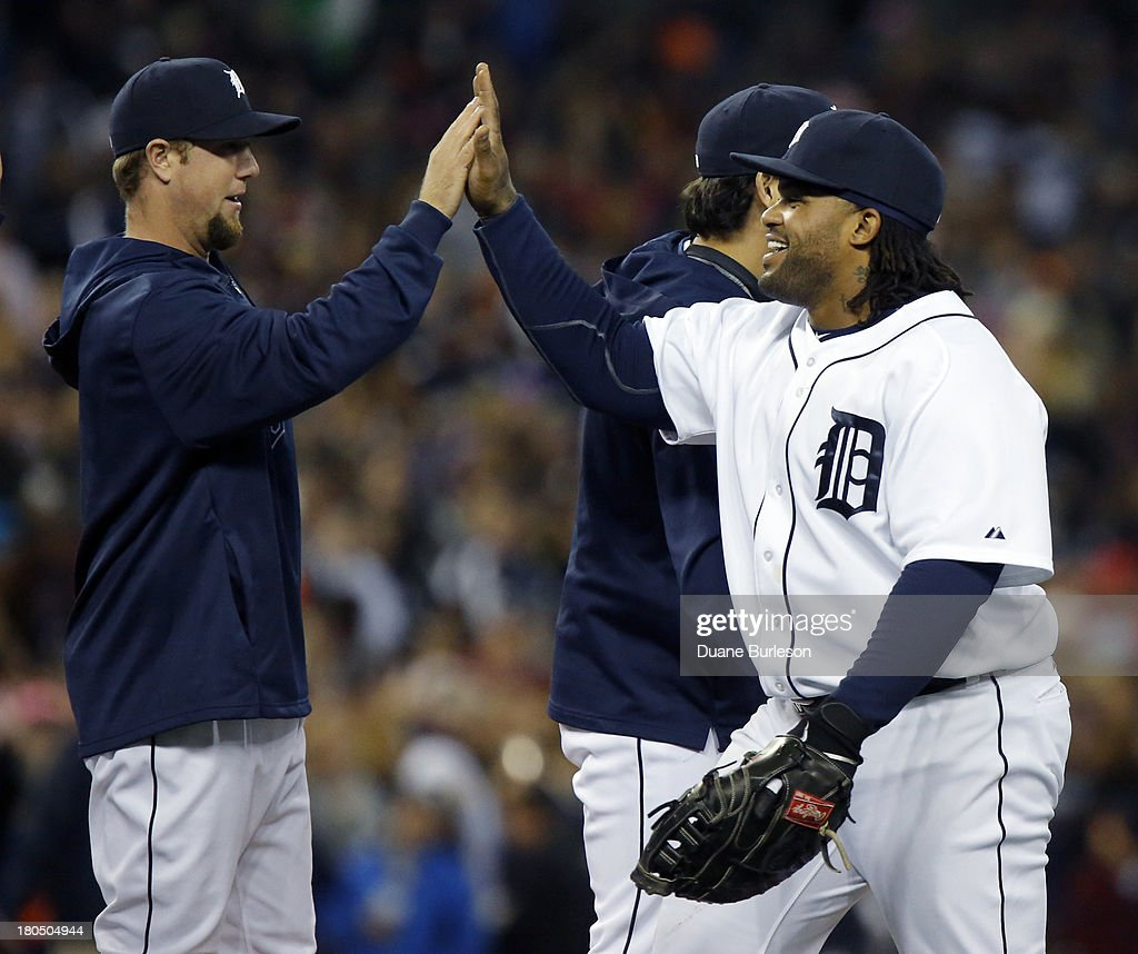 <a gi-track='captionPersonalityLinkClicked' href=/galleries/search?phrase=Prince+Fielder&family=editorial&specificpeople=209392 ng-click='$event.stopPropagation()'>Prince Fielder</a> #28 (R) of the Detroit Tigers gets a high-five from Bryan Holaday #50 after a 6-3 win over the Kansas City Royals at Comerica Park on September 13, 2013 in Detroit, Michigan. Fielder hit a two-run homer in the game.