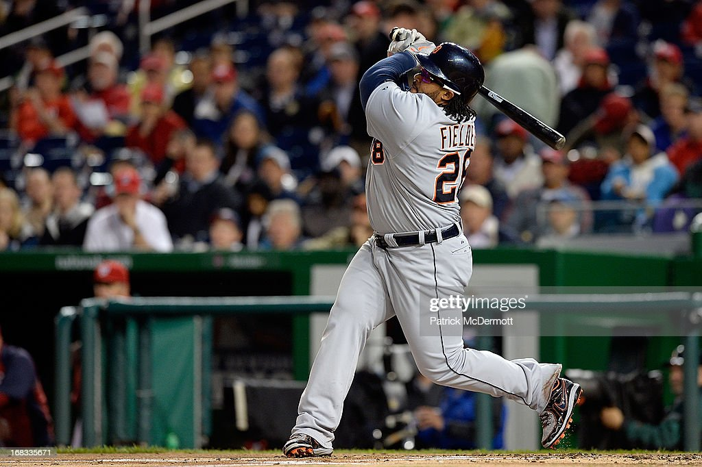 <a gi-track='captionPersonalityLinkClicked' href=/galleries/search?phrase=Prince+Fielder&family=editorial&specificpeople=209392 ng-click='$event.stopPropagation()'>Prince Fielder</a> #28 of the Detroit Tigers hits a double in the second inning during a game against the Washington Nationals at Nationals Park on May 8, 2013 in Washington, DC.