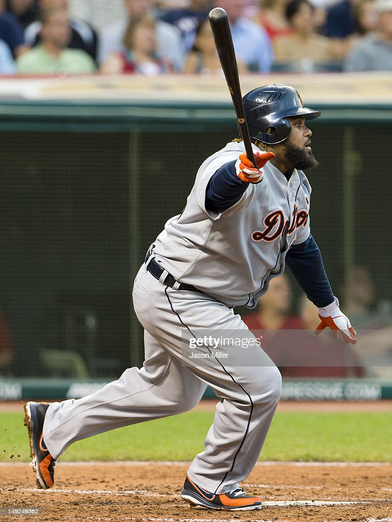 <a gi-track='captionPersonalityLinkClicked' href=/galleries/search?phrase=Prince+Fielder&family=editorial&specificpeople=209392 ng-click='$event.stopPropagation()'>Prince Fielder</a> #28 of the Detroit Tigers hits a sacrifice RBI fly ball to center during the fourth inning against the Cleveland Indians at Progressive Field on July 25, 2012 in Cleveland, Ohio.