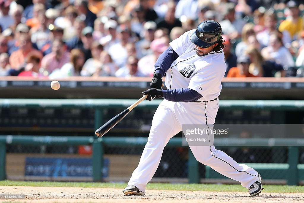 <a gi-track='captionPersonalityLinkClicked' href=/galleries/search?phrase=Prince+Fielder&family=editorial&specificpeople=209392 ng-click='$event.stopPropagation()'>Prince Fielder</a> #28 of the Detroit Tigers hits a solo home run to right field in the fourth inning of the game against the Chicago White Sox at Comerica Park on September 22, 2013 in Detroit, Michigan.