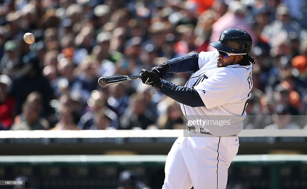 Prince Fielder #28 of the Detroit Tigers hits a three run home run in the fifth inning during the game against the New York Yankees in the home opener at Comerica Park on April 5, 2013 in Detroit, Michigan.