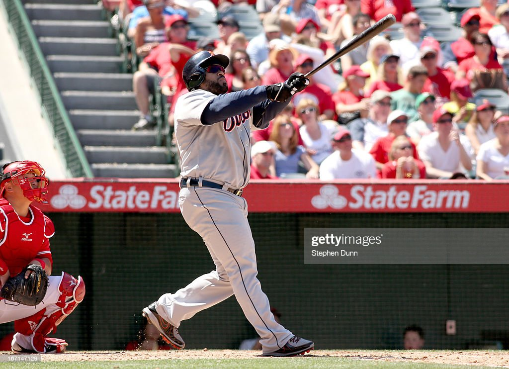 <a gi-track='captionPersonalityLinkClicked' href=/galleries/search?phrase=Prince+Fielder&family=editorial&specificpeople=209392 ng-click='$event.stopPropagation()'>Prince Fielder</a> #28 of the Detroit Tigers hits a two run home run in the fifth inning against the Los Angeles Angels of Anaheim at Angel Stadium of Anaheim on April 21, 2013 in Anaheim, California.