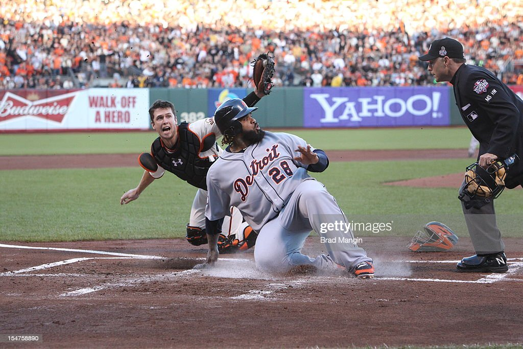 Prince Fielder #28 of the Detroit Tigers is tagged out at home plate by Buster Posey #28 of the San Francisco Giants in the top of the second inning during Game 2 of the 2012 World Series between the Detroit Tigers and the San Francisco Giants on Thursday, October 25, 2012 at AT&T Park in San Francisco, California.