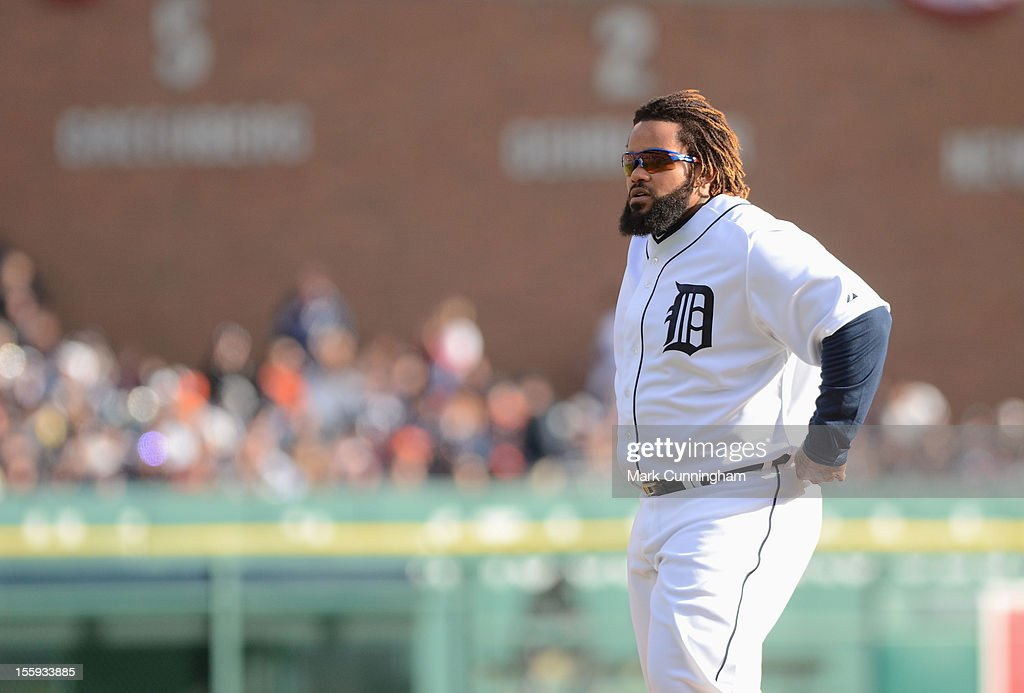 Prince Fielder #28 of the Detroit Tigers looks on during Game Four of the American League Championship Series against the New York Yankees at Comerica Park on October 18, 2012 in Detroit, Michigan. The Tigers defeated the Yankees 8-1 and now advance to the World Series.