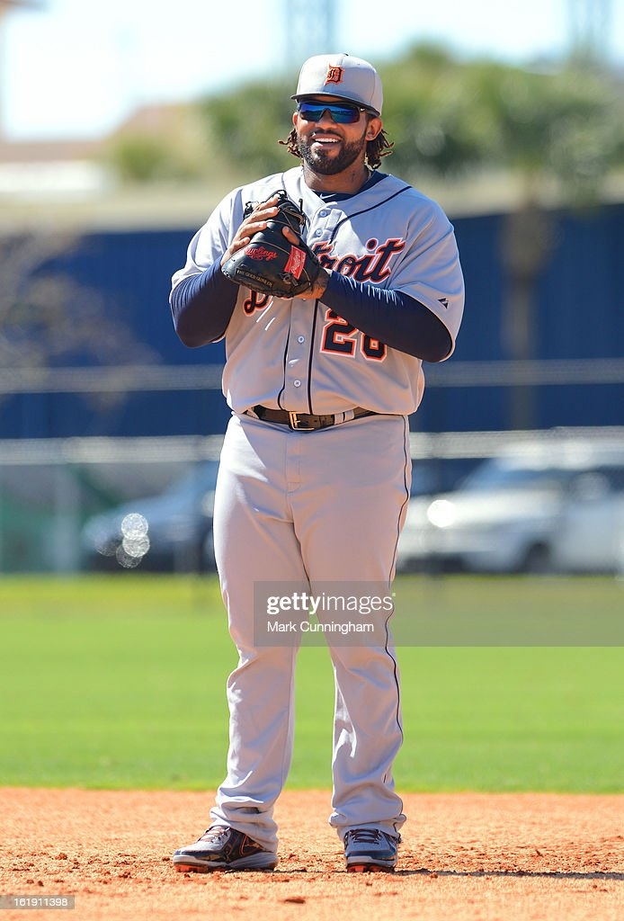 Prince Fielder #28 of the Detroit Tigers looks on during Spring Training workouts at the TigerTown Facility on February 17, 2013 in Lakeland, Florida.