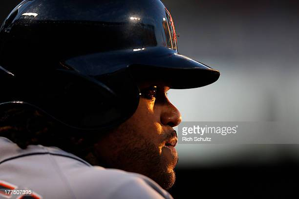 Prince Fielder of the Detroit Tigers looks on from the dugout during the first inning against the New York Mets on August 23 2013 at Citi Field in...