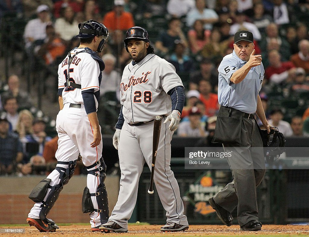 Prince Fielder #28 of the Detroit Tigers reacts after being hit by a pitch in the eighth inning against the Houston Astros at Minute Maid Park on May 2, 2013 in Houston, Texas.