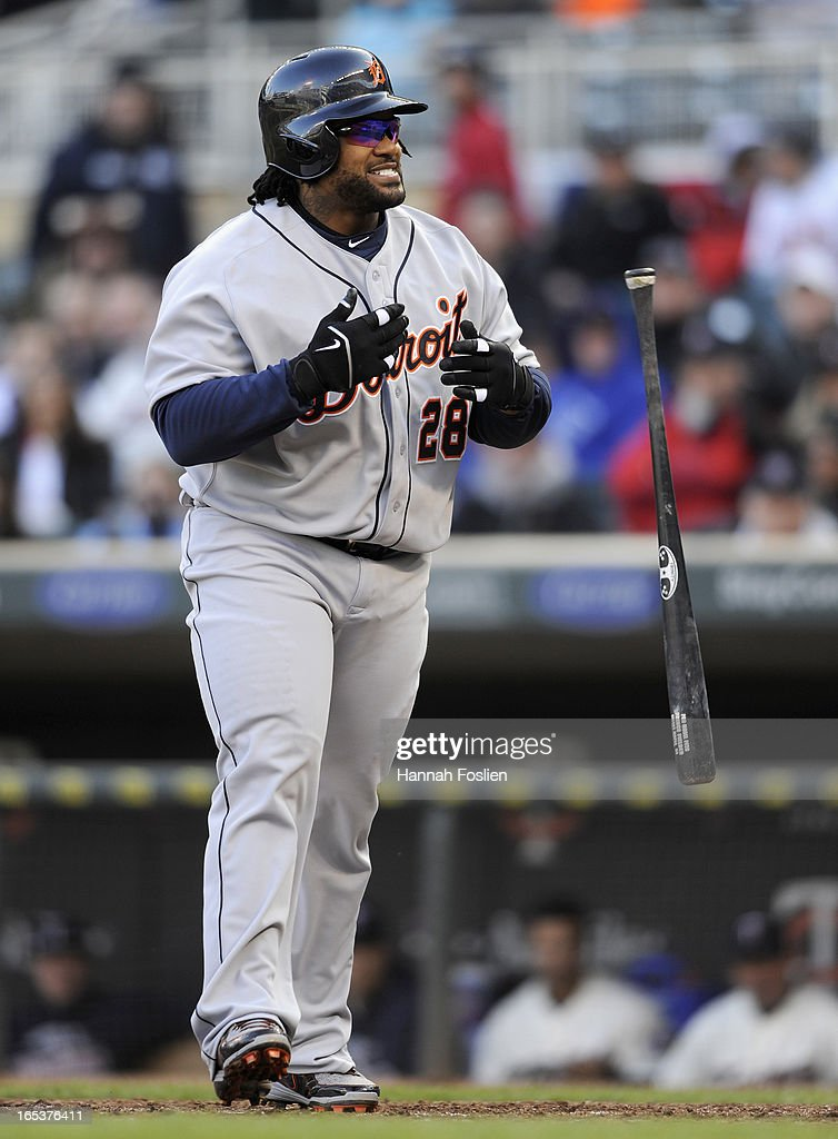 Prince Fielder #28 of the Detroit Tigers reacts to a strikeout by the Minnesota Twins in the eighth inning of the game on April 3, 2013 at Target Field in Minneapolis, Minnesota. The Twins defeated the Tigers 3-2.