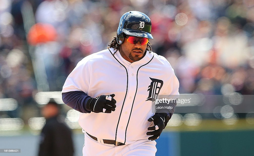 <a gi-track='captionPersonalityLinkClicked' href=/galleries/search?phrase=Prince+Fielder&family=editorial&specificpeople=209392 ng-click='$event.stopPropagation()'>Prince Fielder</a> #28 of the Detroit Tigers rounds second base after hitting a solo home run to right field in the fourth inning of the game against the Chicago White Sox at Comerica Park on September 22, 2013 in Detroit, Michigan.