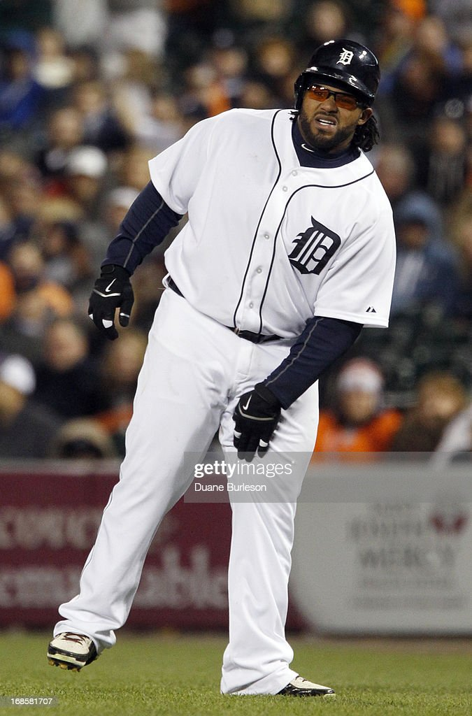 <a gi-track='captionPersonalityLinkClicked' href=/galleries/search?phrase=Prince+Fielder&family=editorial&specificpeople=209392 ng-click='$event.stopPropagation()'>Prince Fielder</a> #28 of the Detroit Tigers rubs his leg after getting hit with a pitch from Joe Smith of the Cleveland Indians in the eighth inning at Comerica Park on May 11, 2013 in Detroit, Michigan.