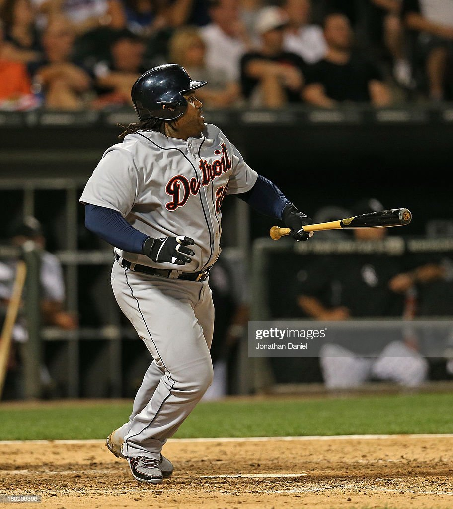 <a gi-track='captionPersonalityLinkClicked' href=/galleries/search?phrase=Prince+Fielder&family=editorial&specificpeople=209392 ng-click='$event.stopPropagation()'>Prince Fielder</a> #28 of the Detroit Tigers runs after hitting a single in the 6th inning against the Chicago White Sox at U.S. Cellular Field on September 10, 2013 in Chicago, Illinois.
