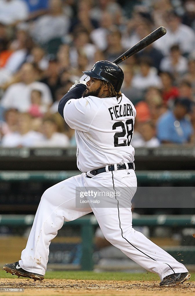 <a gi-track='captionPersonalityLinkClicked' href=/galleries/search?phrase=Prince+Fielder&family=editorial&specificpeople=209392 ng-click='$event.stopPropagation()'>Prince Fielder</a> #28 of the Detroit Tigers singles to center field in the sixth inning during the game against the Kansas City Royals at Comerica Park on July 6, 2012 in Detroit, Michigan. The Tigers defeated the Royals 4-2.
