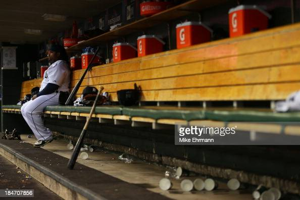 Prince Fielder of the Detroit Tigers sits in the dugout during Game Three of the American League Championship Series against the Boston Red Sox at...