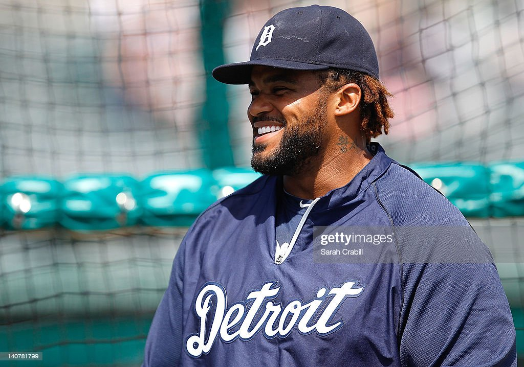 Prince Fielder #28 of the Detroit Tigers smiles before a game against the Miami Marlins at Roger Dean Stadium on March 6, 2012 in Jupiter, Florida.
