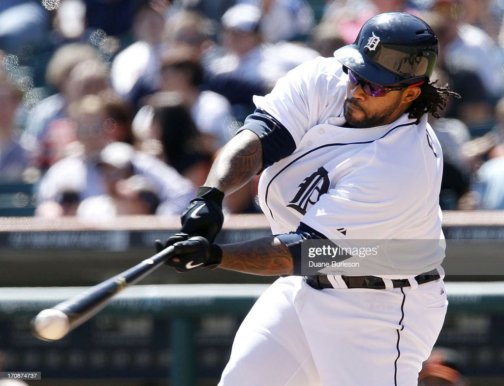 <a gi-track='captionPersonalityLinkClicked' href=/galleries/search?phrase=Prince+Fielder&family=editorial&specificpeople=209392 ng-click='$event.stopPropagation()'>Prince Fielder</a> #28 of the Detroit Tigers strikes out swinging against the Baltimore Orioles in the seventh inning at Comerica Park on June 19, 2013 in Detroit, Michigan. Fielder went 0-for-4 at the plate in a 13-3 loss to the Orioles.