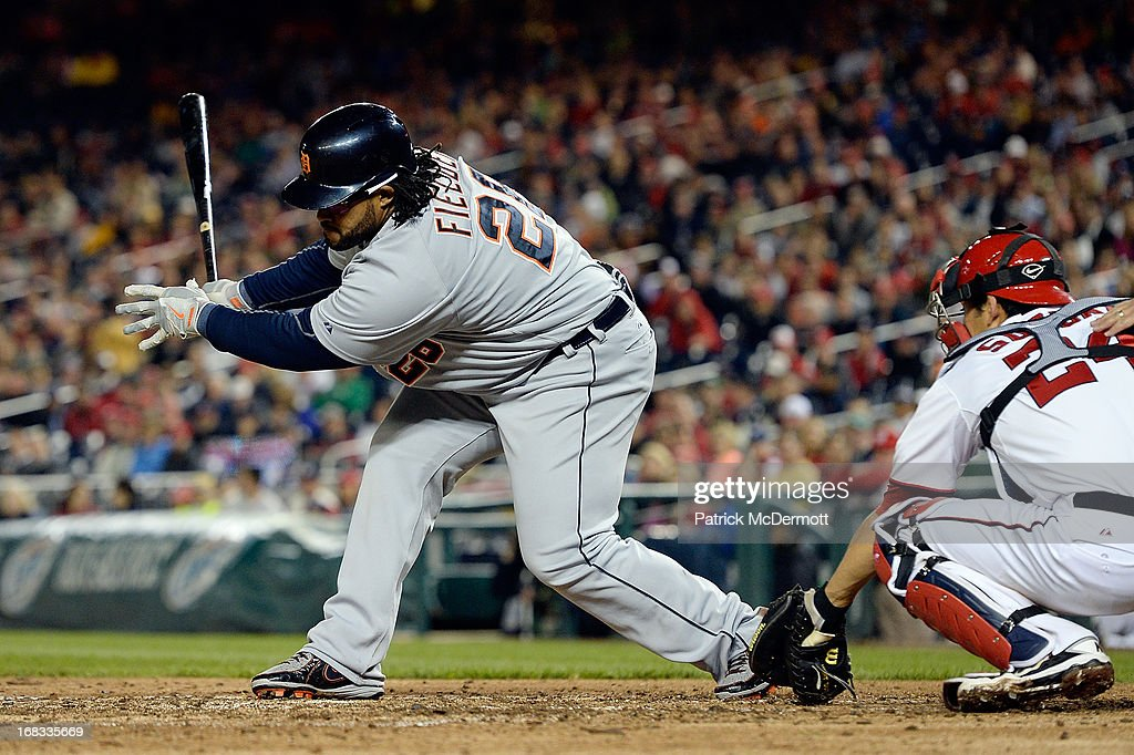 <a gi-track='captionPersonalityLinkClicked' href=/galleries/search?phrase=Prince+Fielder&family=editorial&specificpeople=209392 ng-click='$event.stopPropagation()'>Prince Fielder</a> #28 of the Detroit Tigers strikes out swinging in the eighth inning during a game against the Washington Nationals at Nationals Park on May 8, 2013 in Washington, DC.