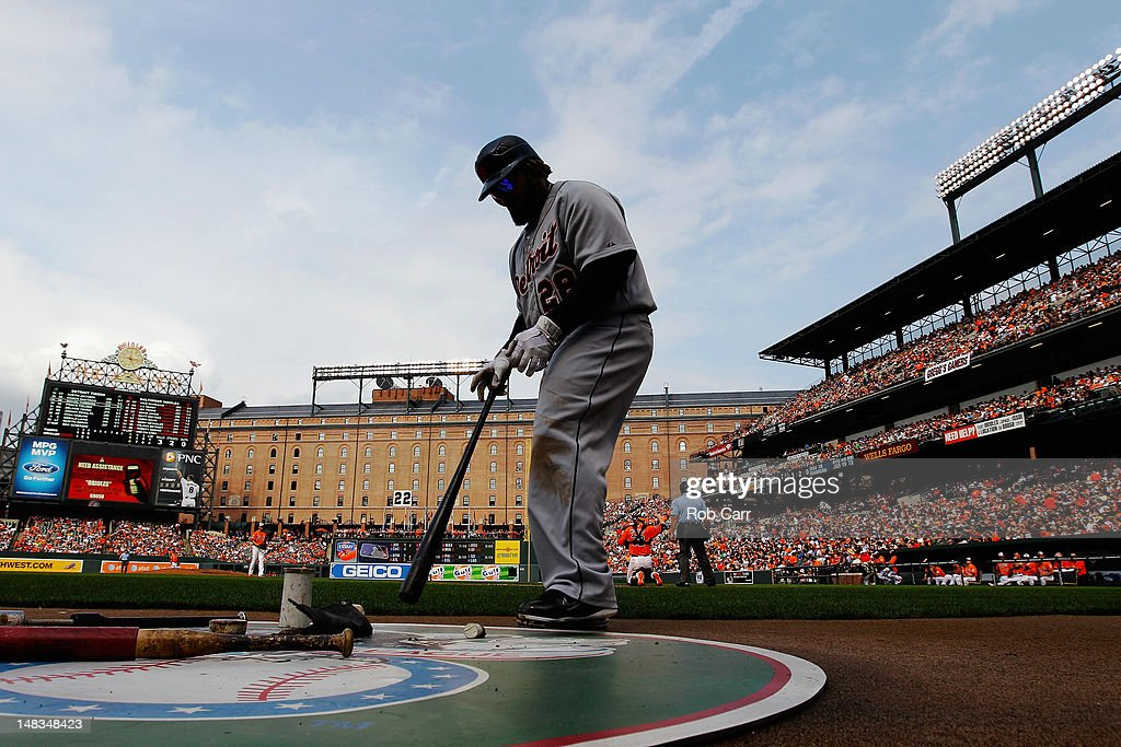 <a gi-track='captionPersonalityLinkClicked' href=/galleries/search?phrase=Prince+Fielder&family=editorial&specificpeople=209392 ng-click='$event.stopPropagation()'>Prince Fielder</a> #28 of the Detroit Tigers waits to bat against the Baltimore Orioles during the sixth inning at Oriole Park at Camden Yards on July 14, 2012 in Baltimore, Maryland.